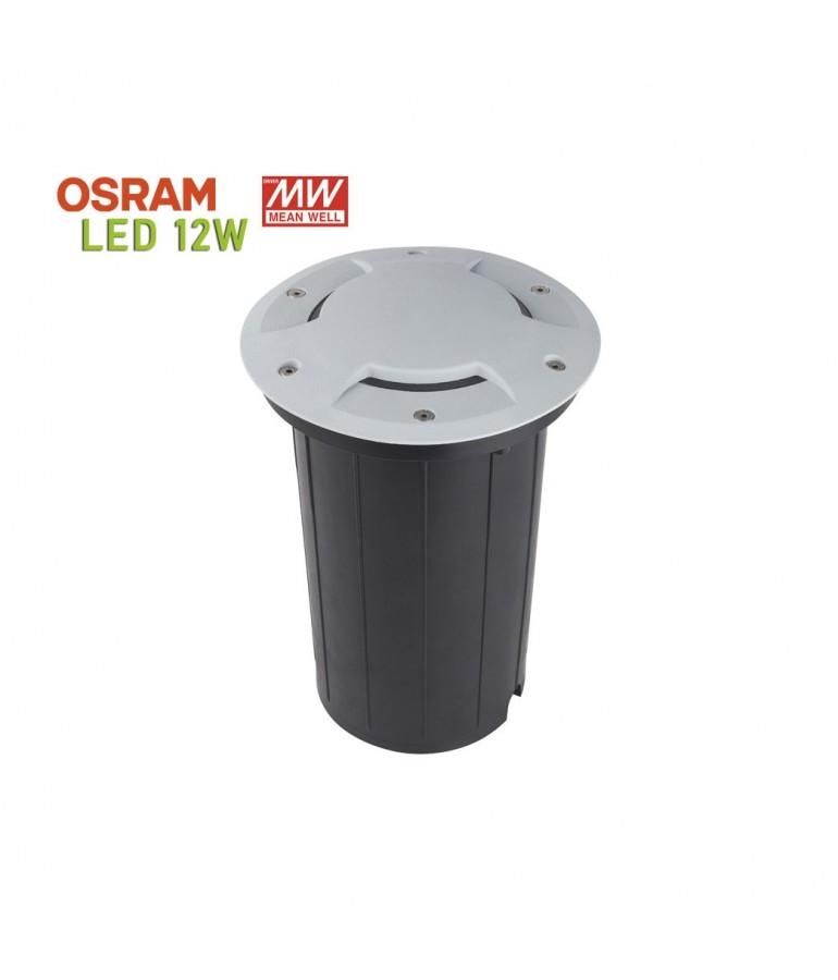 Foco Proyector LED 12W de suelo Circular Gil 190 con Tapa empotrar