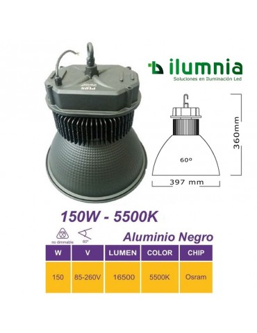 CAMPANA INDUSTRIAL LED 150W ALUMINIO BLACK