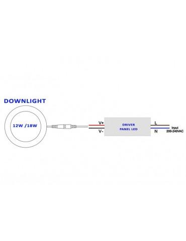 Driver Recambio Downlight panel led 12-18w