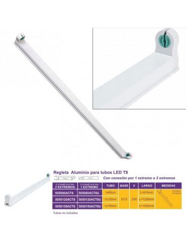 REGLETA ALUMINIO 120 cm PORTATUBO LED T8