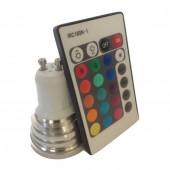 LED Multicolor RGB 3W GU10 230V Remote control IR