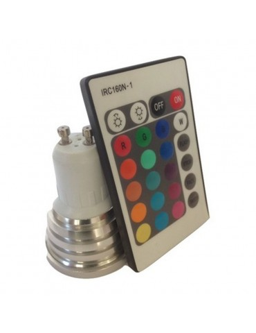 LED Multicolor RGB 3W GU10 230V Remote control IR