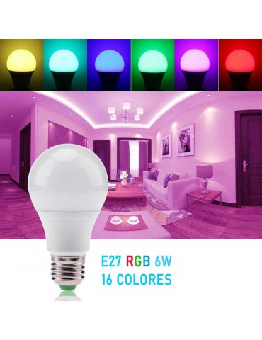 LED Multicolor RGB 6W E27 230V Remote control IR