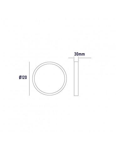 Dimensiones PANEL LED Downlight circular 6W plano de superficie