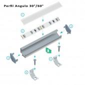 """Montaje perfil ángulo 30-60 """"H"""" aluminio tira led"""