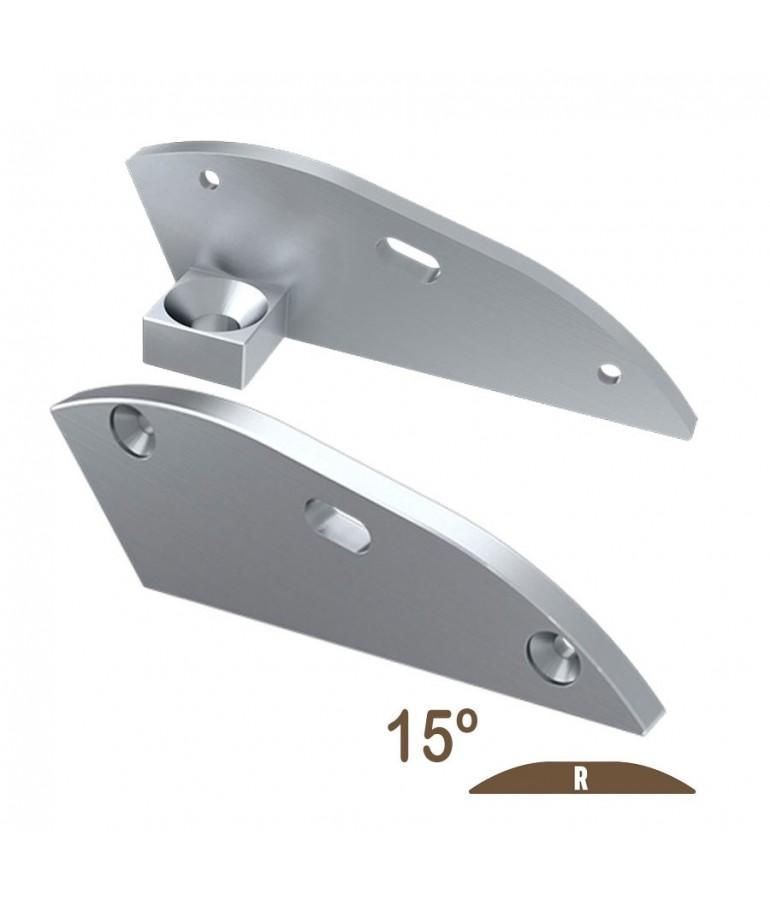 """Tapa final 15º con agujero perfil aluminio plano """"R"""""""