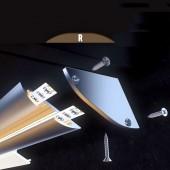 """Tapa final 30º con agujero perfil aluminio plano """"R"""""""