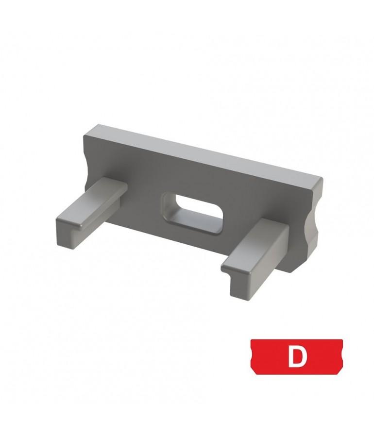 """Tapa final con agujero perfil aluminio BAJO """"D"""""""