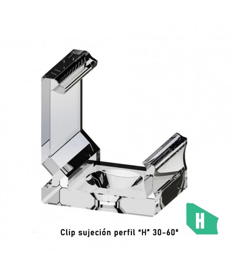"Clip sujeción perfil ángulo 30-60 ""H"" aluminio tira led"