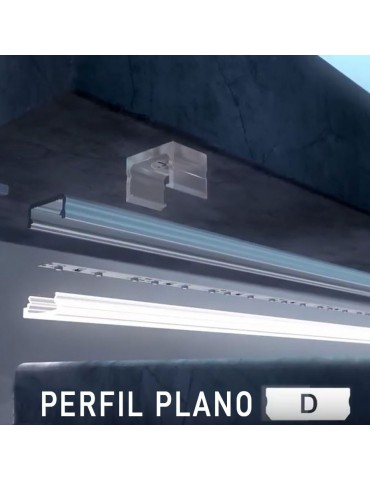 "PERFIL ALUMINIO SUPERFICIE PLANO ""D"" TIRA LED"