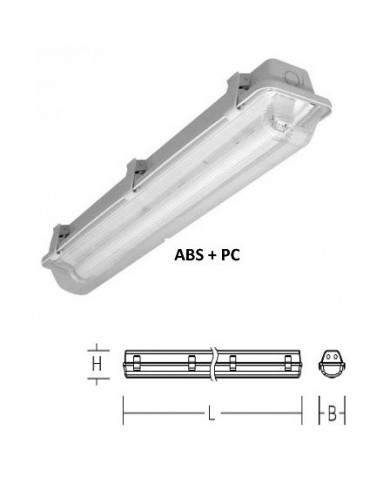 PANTALLA ESTANCA IP65 PARA 1 TUBO LED 60 cm vistas