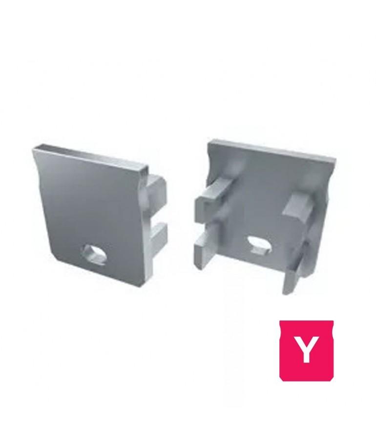 "Tapa final con agujero perfil aluminio Alto ""Y"" Tira led"