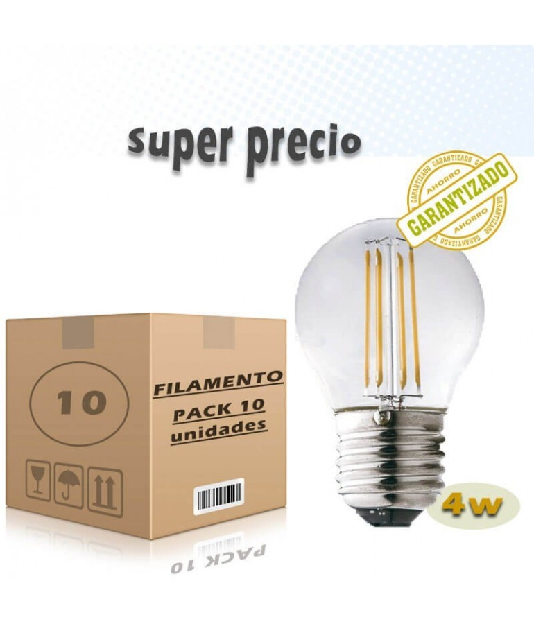 PACK 10 LED VINTAGE Esférica G45 4W E27 CRISTAL