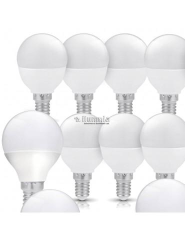 Pack 10 LED Esférica P45 5,5W E14  HTPC+Aluminio 220°
