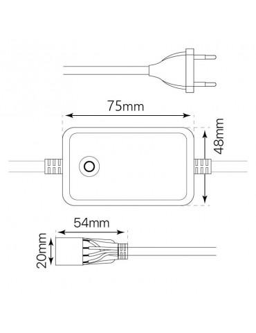 Conector alimentador para Tiras de Led RGB a 230V IP65