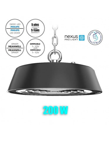 CAMPANA INDUSTRIAL LED UFO 200W DIMMABLE IP65 28000lumnes