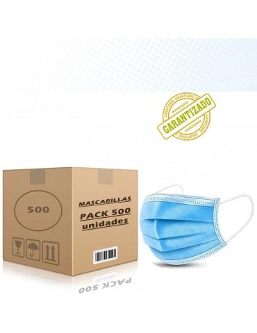 Mascarilla quirúrgica 3 capas desechable A GRANEL PACK 500 unidades