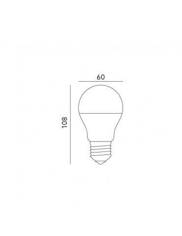 Dimensiones LED Estándar A60 7W E27 premium 360° 230V CRISTAL