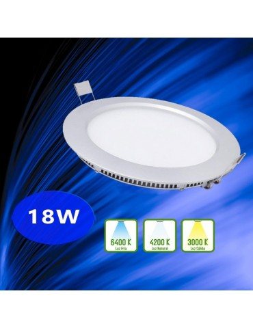 "PANEL LED Downlight 18W Circular Empotrable ""Extraplano"""