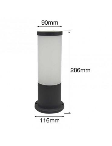 Baliza Mini Redonda 286mm E27 Resina Dimensiones