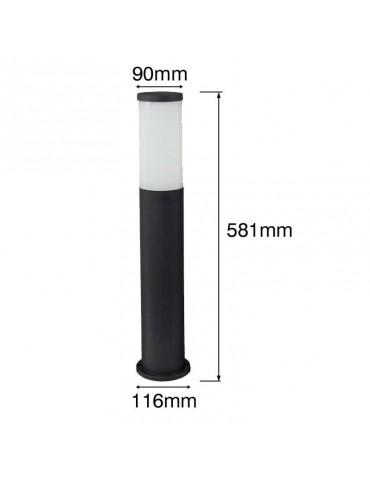 Baliza Redonda ZEZA 581mm E27 Resina dimensiones