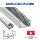 """PERFIL ALUMINIO SUPERFICIE MEDIO """"A"""" TIRA LED"""