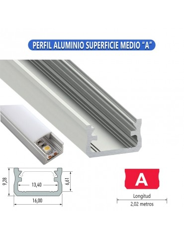 "PERFIL ALUMINIO SUPERFICIE MEDIO ""A"" TIRA LED"