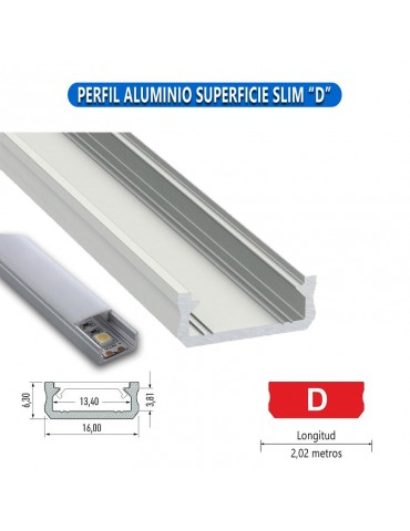 "PERFIL ALUMINIO SUPERFICIE SLIM ""D"" TIRA LED"