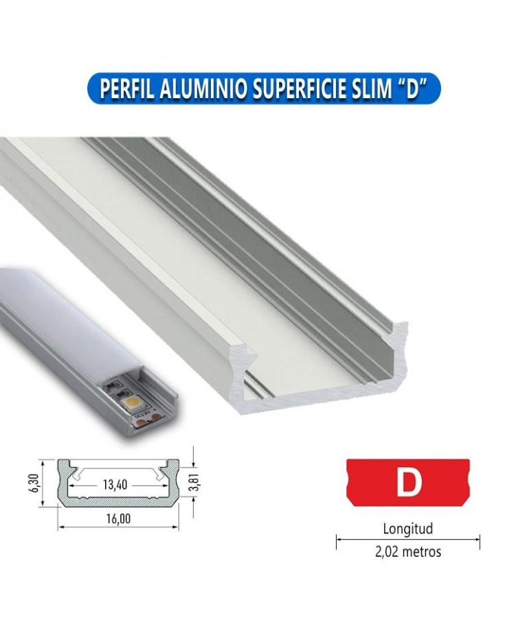 "PERFIL ALUMINIO SUPERFICIE SLIM ""D"" TIRA LED"