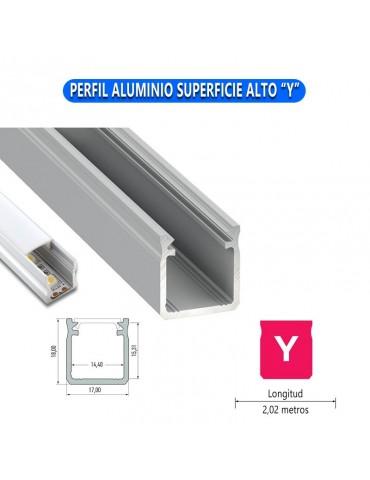 "PERFIL ALUMINIO SUPERFICIE ALTO ""Y"" TIRA LED"