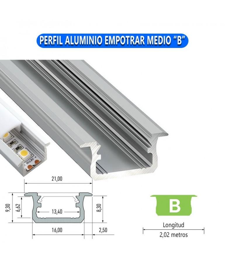 "PERFIL ALUMINIO EMPOTRAR MEDIO ""B"" TIRA DE LED"