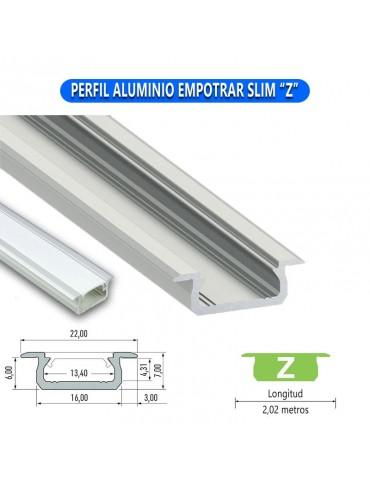 """PERFIL ALUMINIO EMPOTRAR SLIM """"Z"""" TIRA DE LED"""