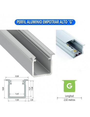 "PERFIL ALUMINIO EMPOTRAR ALTO""G"" TIRA DE LED"