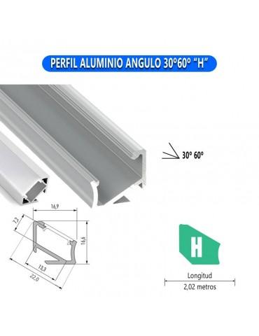 "PERFIL ALUMINIO ANGULO 30°60° ""H"" TIRA DE LED"