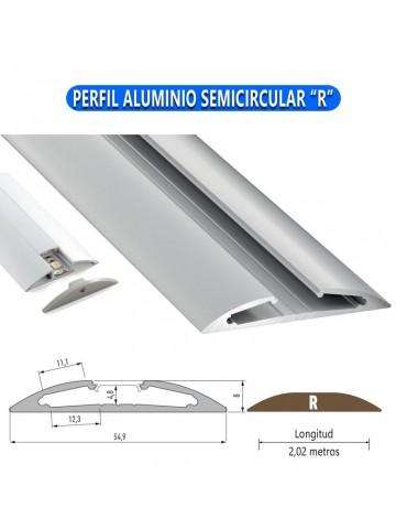 """PERFIL ALUMINIO SEMICIRCULAR """"R"""" TIRA DE LED"""
