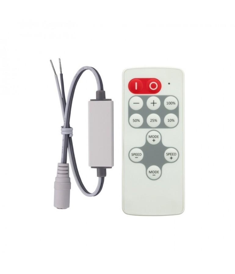 Mini Controlador Tira leds 12VDC mando RC 8 PROGRAMAS