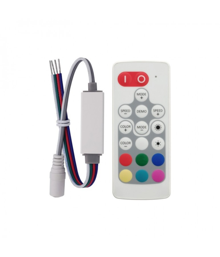 Mini Controlador Tira leds RGB 12v mando RC 19 PROGRAMAS