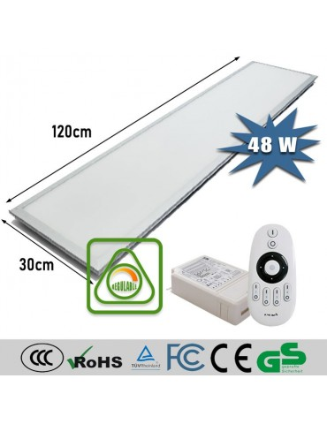 PANEL LED FLAT 48W REGULABLE DIMMABLE CON MANDO 1200x300mm