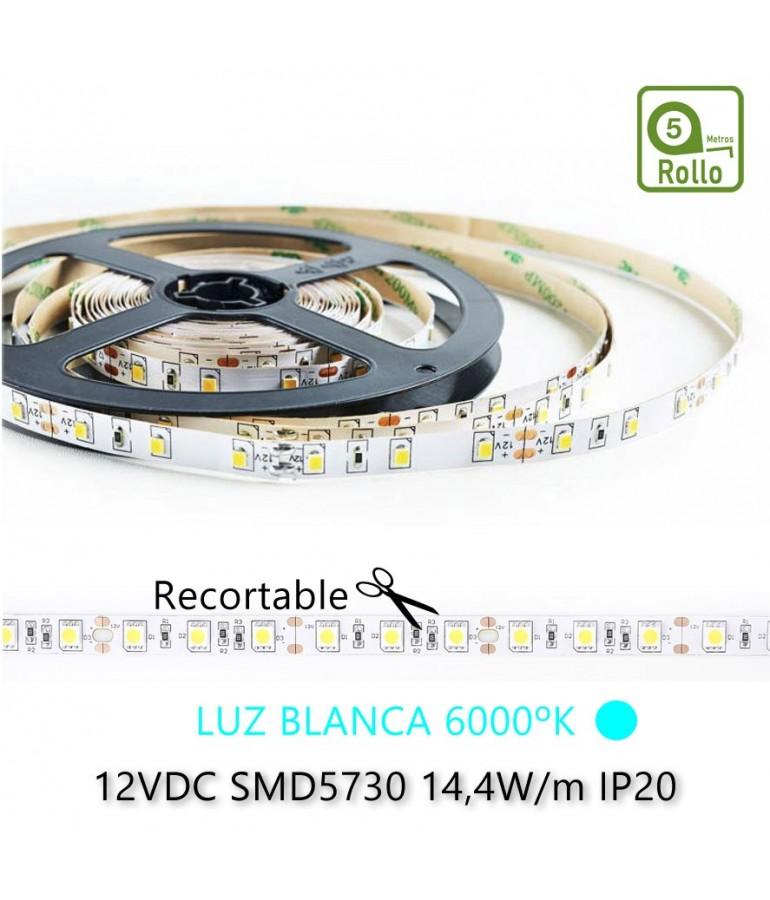 TIRA DE LED DC12V 14,4W IP20 160°BLANCA FRÍA 60LEDS SMD5730 Adhesivas