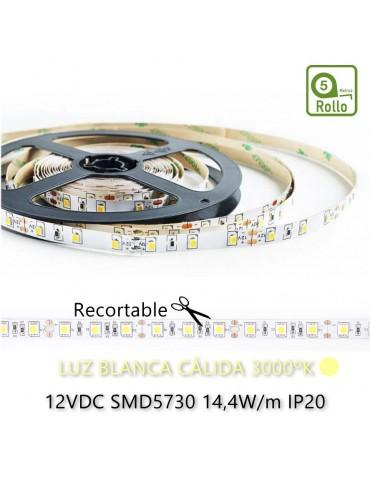TIRA DE LED DC12V 14,4W IP20 160°BLANCA CÁLIDA 60 LEDS SMD5730 Adhesivas