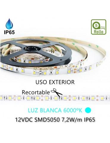 TIRA DE LED DC12V 7,2W IP65 160°BLANCA FRÍA 30LEDS SMD5050 Adhesivas
