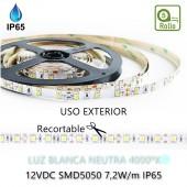 TIRA DE LED DC12V 7,2W IP65 BLANCA NEUTRA 30LEDS SMD5050 Adhesivas