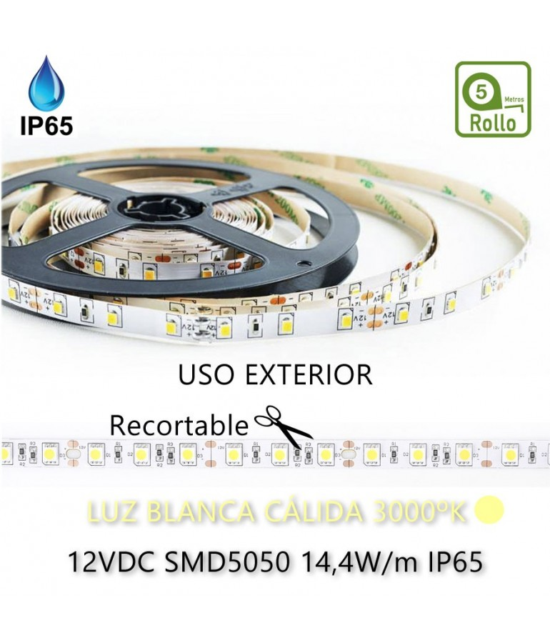 TIRA DE LED DC12V 14,4W IP65 160° CÁLIDA 60LEDS SMD5050flexibles adhesivas