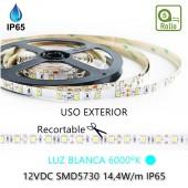 TIRA DE LED DC12V 14,4W IP65 160°BLANCA FRÍA 60LEDS SMD5730 Adhesivas