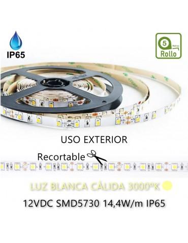 TIRA DE LED DC12V 14,4W IP65 160°CÁLIDA 60 LEDS SMD5730 Adhesivas