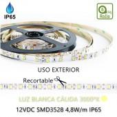 TIRA DE LED DC12V 4,8W IP65 160°CÁLIDA 60LEDS SMD3528 Adhesivas