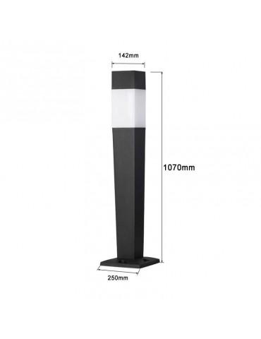 Baliza Cuadrada 1070mm E27 resina  ZEZA 1100SQ dimensiones