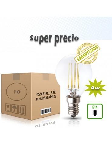 PACK 10 LED VINTAGE filamento Esférica P45 4W E14 CRISTAL