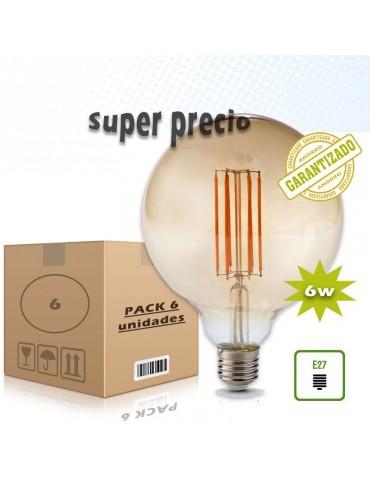 PACK 6 LED VINTAGE GLOBO G125 6W E27 230V CRISTAL AMBAR