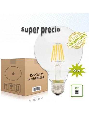 PACK 6 LED VINTAGE GLOBO G125 6W E27 230V CRISTAL TRANSPARENTE